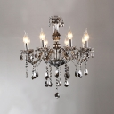 Majestic and Bold Smoky Gray Arms and Droplets 8-Light Chandelier Lighting