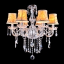 Hand-Formed Clear Crystal Arms Beautiful Pattern Shades Classic Style Chandelier
