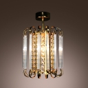 Bold and Elegant Golden Crystal Strands Cylindrical Design Mini Pedant Lighting
