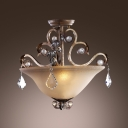 Olde Silver Finish and Faceted Crystal Drops Create Graceful Outline for Stunning Semi Flush Ceiling Light