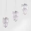 Glistening 3-light Chrome Multi Light Pendant Features Array of Crystal Strands