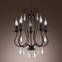 Crystal Teardrops Five Candle Lights Antique Copper Wrought Iron Chandelier