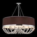 Vintage Black Drum Shade Glistening Crystal Strands Cascades 5-Light 27.1