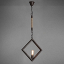 Black Finish 1 Light LED Pendant with Rope Accents