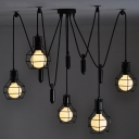5 Light Pulley Cage Shade LED Pendant Lighting in Black