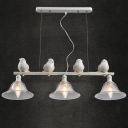 Lovely Birds And Three Bright Glass Shaded Designer Island Light ,Four White Lamp
