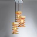 Spiral Wood Designer Multi-Light Pendant Light With Round Canopy Three Light