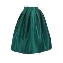 Colorful Plain High Waist Pleated  Elastic Maxi Skirt