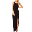V-Back Side Split Black Tank Floor Length Dress