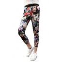 Elastic High Waist Black Background Blossom Print Crop Pants