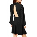 Sexy Back Cutout Plain Bell Sleeve High Neck A-line Dress
