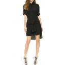 Step Hem Shirt Style Black Dress with Tie Waist