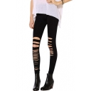 Knee Laser Asymmetric Cutout Elastic Leggings