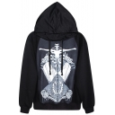 Dressed Skeleton Print Black Hoodie