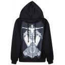 Dressed Skeleton Print Black Hoodie