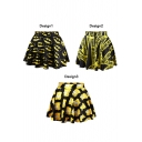 Fashionable Themed Print High Waist Pleated Mini Skirt