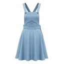 Light Blue Single Pockets Ruffle Hem Denim Dress