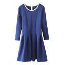 Plain 3/4 Sleeve Pleated Round Neck Ruffle Hem Dress