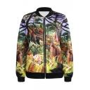 Jungle Tiger Print Baseball Jacket