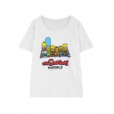 The Simpsons Cartoon Print Short Sleeve Tee with Round Neck
