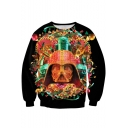 Unique Red 3D Ancient Helmet Print Black Sweatshirt