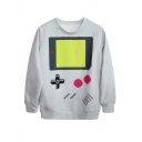 Old-Style Computer Print White Sweatshirt