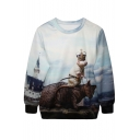 3D Crowned Mouse Riding Cat Print Sweatshirt