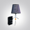Glittering Crystal Droplets and Bubble Motif Fabric Shade Composed Striking Modern Wall Sconce