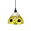 Yellow Sunflower Motif Hand-made Glass Shade Tiffany Mini Pendant