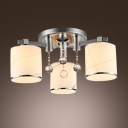 Clear Crystal Balls Adorned Glamorous 3-lights Flush Mount Light with White Glass Shades