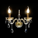 Two Light Wall Sconce Features Beautiful Hand-cut Crystal Curving Arms and Droplets