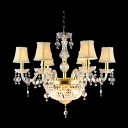 Gorgeous Clear Crystal Beads and Bobeches Golden  Finish  9-Light Chandelier
