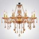 Eight Light Splendid Amber Crystal Droplets and Gold Luxurious Chandelier