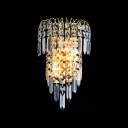 Stunning Wall Sconce Features Faceted Crystals and Graceful Scrolls