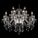 12-Light Purity and Harmony Clear Crystal Chandelier Hanging Plentiful Strands and Drops