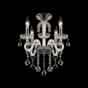 White Finish and Crystal Bobeches Add Glamour to Magnificent Four Light Chandelier