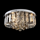 Graceful Stainless Steel Round Canopy Crystal Diamonds Hang Together Modern Flush Mount