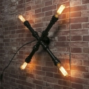 Burst Cross Shaped 4 Lighted Aged Pipe LED Wall Sconce
