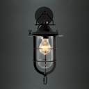 Lantern Like Black Finished LED Mini Wall Light with Outer Cage