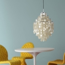 Nature Sea-shell Shaded 4 Tiers Pendant Light