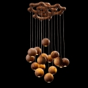 Round Canopy Hanging Wooden Balls Large Designer Pendant Light