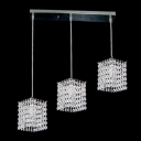 Crystal Falls Hanging From Delicate Chrome Finish Stainless Steel Base Composed Kitchen Pendant