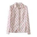 White Background All Over Flamingo Print Shirt