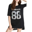 Female 88 Print Short Sleeve Boyfriend Style High-low Hem Dress