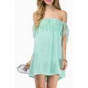 Water Drop Embroidered Lace Off-the-Shoulder Chiffon Mini Dress