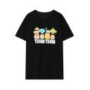 Cartoon Union Letter Print Round Neck Short Sleeve T-Shirt