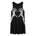 Black Hands Bone Print Round Neck Sleeveless Sundress