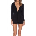 Black Plunge Neck Long Sleeve Gathered Waist Rompers