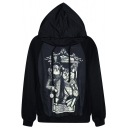 Mr.&Mrs Cat Print Black Hoodie