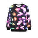 Fantastic Jellyfish Print Black Sweatshirt